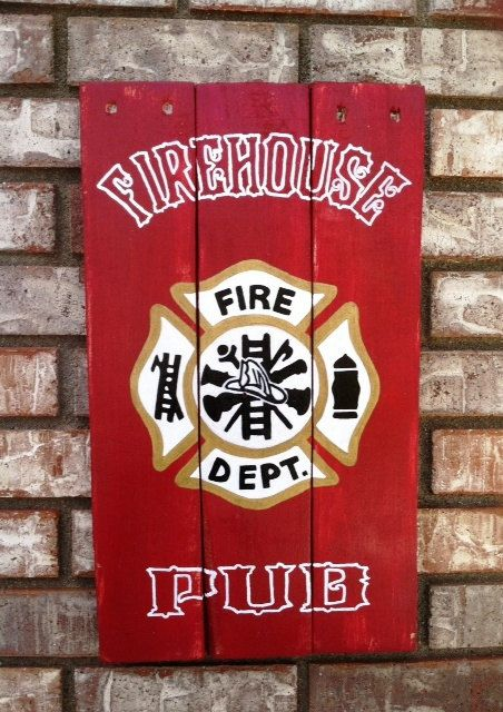 Firehouse Pub sign, Reclaimed, Recycled, wood sign, hand made, hand painted on Etsy, $45.00