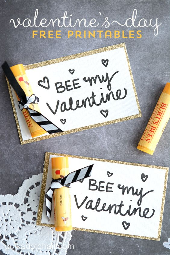 """Bee"" My Valentine - free printable Valentine's. So cute with bee erasers for little kids or beeswax lip balm for big kids!:"