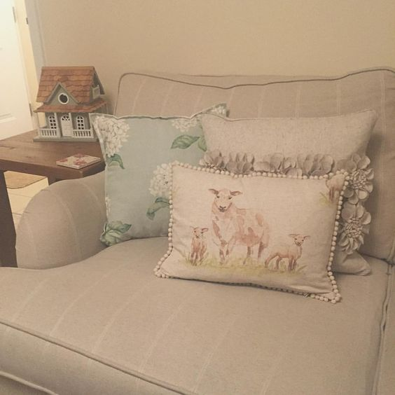"Katie on Instagram: ""Finally got round to getting a cushion insert for my gorgeous cushion cover made by the very talented @cushionsatthemanor I love it  and it's fits in perfectly with my living room  #pompomcushion #countrycushion #cushion #sheep #lambs #homedecor #myhome #livingroom #countrystyle #lauraashley #heligan"""
