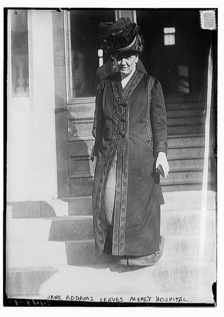 Jane Addams leaving Mercy Hospital, Chicago, 1912.Jane Addams was founder of Hull House in Chicago, an early settlement house, and winner of the Nobel Peace Prize.