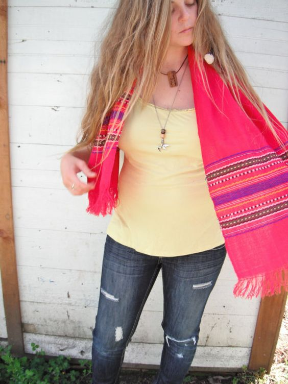 15 OFF SALE Fuscia wool native print scarf by ArieleSierraDesigns, $14.99
