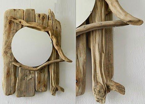 espejos con madera a la deriva decoracion con materiales