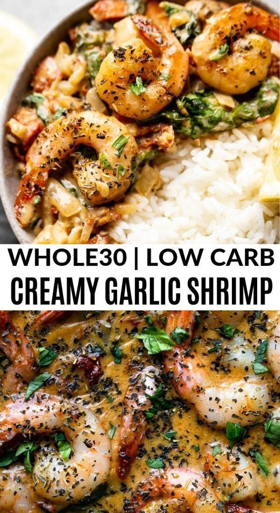 One Pan Creamy Garlic Shrimp (Paleo, Whole30, Low Carb)