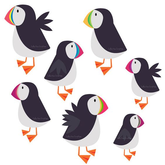 Rainbow Puffin Digital Clipart  Personal and by CollectiveCreation