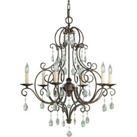 599 lighting design experts  Murray Feiss Lighting F1902/6MBZ 6 Light Chandelier w/crystals