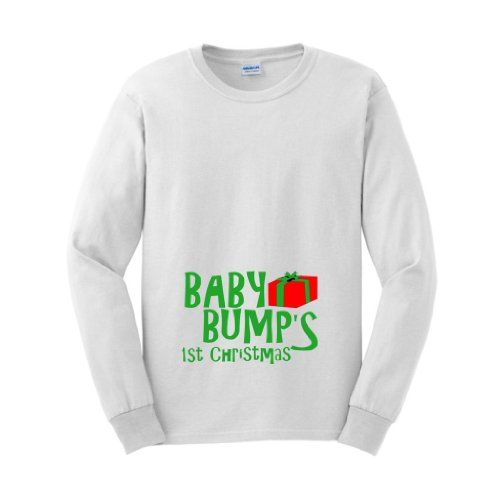 Baby Bumps First Christmas Xmas Gift Present Funny Pregnancy Long Sleeve T-Shirt (NOT Maternity Sized) Pregnant Cute Sexy Humor Baby Shower Gift Present Portrait Expecting Mother Mommy Long Sleeve Tee XL White