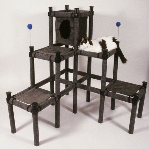$199.95-$179.95 The 3-Story Catty Corner is a great piece if you have two or more cats. Your cats will feel hip in this practical Cat Activity Center. A Cozy Fur Condo serves as the great lookout and a cozy shelter. Four Plush Fur Hammocks plus the roof of the Condo provide a choice of areas for resting, sleeping and guarding the room. This is no ordinary piece of Cat Furniture. There is a lot to ...
