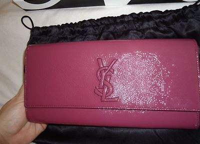 ysl muse wallet - YSL Yves Saint Laurent Magenta Medium Patent Clutch Belle Du Jour ...