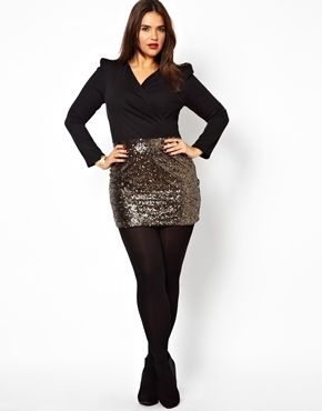Image 4 of Club L Plus Size Wrap Dress with Sequin Skirt | Mystyle ...