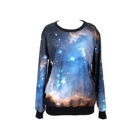 Tparis Galaxy Patterned Sweatshirts Printed Colorful Pullovers Women... ($19) ❤ liked on Polyvore featuring tops, shirts, skull top, black skull top, black top, black pullover and galaxy top