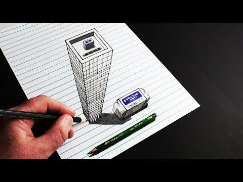 4177 How To Draw Trick Art 3d Building On Line Paper Youtube 3d Drawings 3d Drawing Tutorial Optical Illusion Drawing