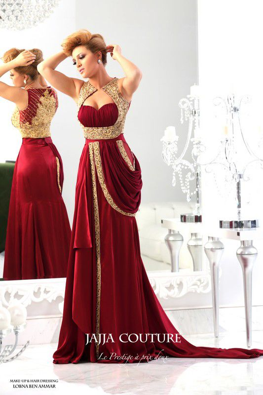 2014 New Arrival Sweetheart Satin Dark Red Prom Dress Runway Gold ...