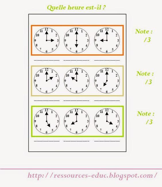 2 exercices imprimer pour apprendre lire l 39 heure educ classe pinterest. Black Bedroom Furniture Sets. Home Design Ideas