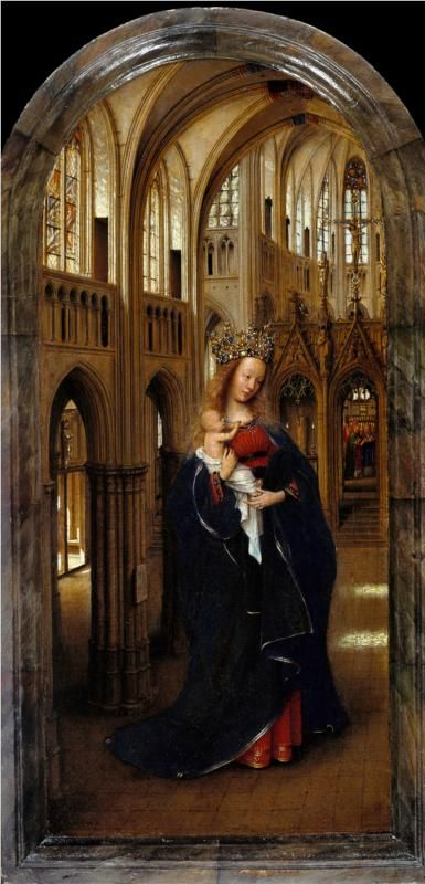 "Jan van Eyck, ""Madonna in the Church"".  1437-9.  Northern Renaissance.  oil on wood:"