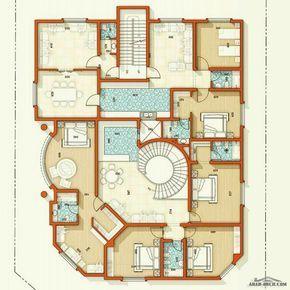 مخطط فيلا سكنية وسقة السعودية ابها من اعمال Architect Ammar Nasser Beautiful House Plans Square House Plans House Layout Plans