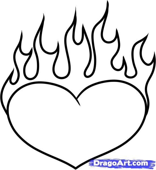How To Draw A Heart On Fire Step By Step Tattoos Pop Culture Free Heart Coloring Pages Love Coloring Pages Fire Heart