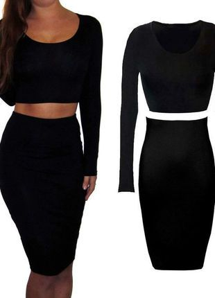 Buy here at #vinteduk http://www.vinted.co.uk/womens-clothing/midi-dresses/5811785-sexy-2-piece-set-jersey-midi-wiggle-skirt-and-crop-top-long-sleeve-stretch-8