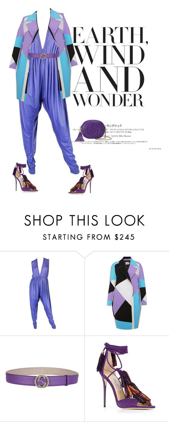 """""""Purple!"""" by themodernduchess ❤ liked on Polyvore featuring Halston, FAUSTO PUGLISI, Gucci and Jimmy Choo"""