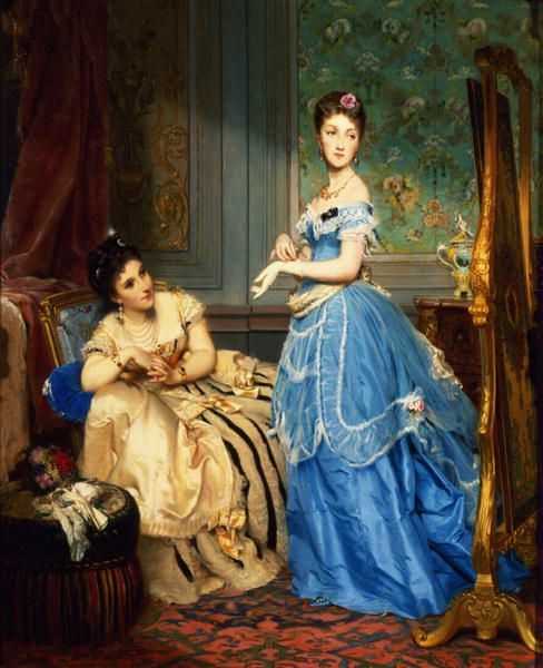 """""""Getting Dressed"""" (1869) by Charles Edouard Boutibonne (1816-1897)."""