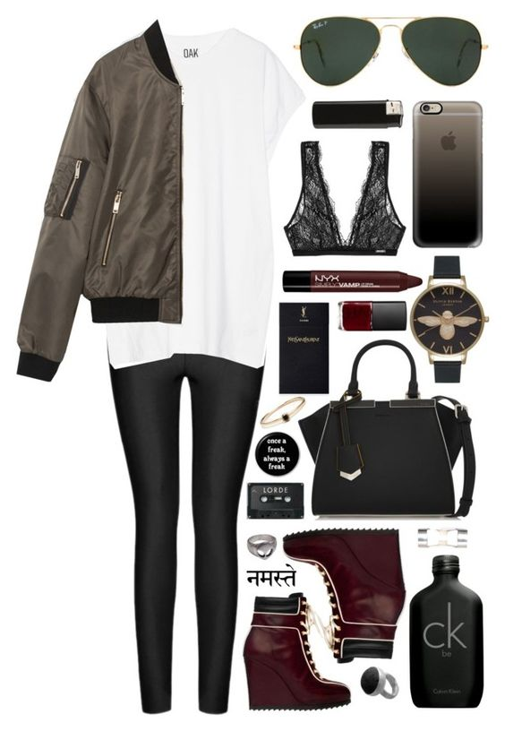"""Untitled #329"" by clary94 ❤ liked on Polyvore featuring Ally Fashion, Oak, Tommy Hilfiger, Zara, Fendi, Ray-Ban, Yves Saint Laurent, NARS Cosmetics, NYX and Casetify"