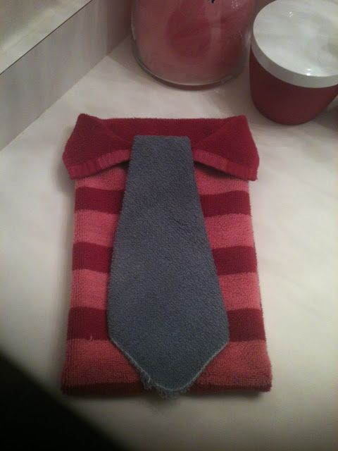 Nerdy sarah towel origami dress shirt and tie for the for How to tie towels in bathroom
