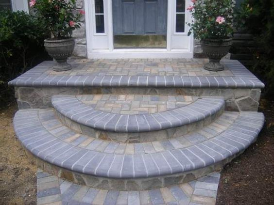 Curved Pavers In Front Stoop Of Houses For Curb Appeal