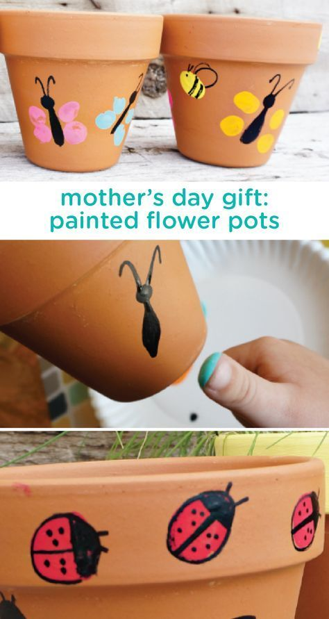 Celebrate all the wonderful moms in your life with this easy DIY gift idea for painted flower pots. This is a great activity for your toddler to make together with dad or grandma as a beautiful and personal homemade gift to celebrate mom this mother's day.