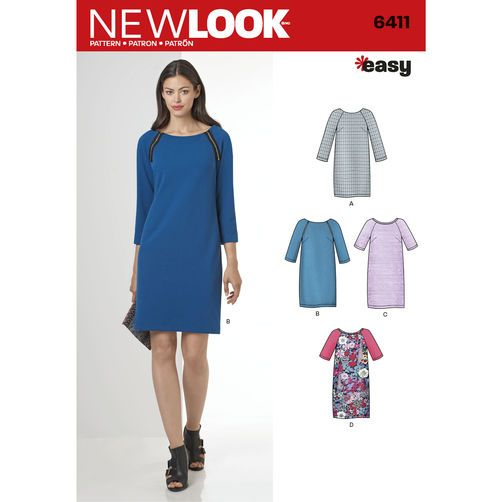 New Look Pattern 6411 Misses' Easy to Sew Shift Dress