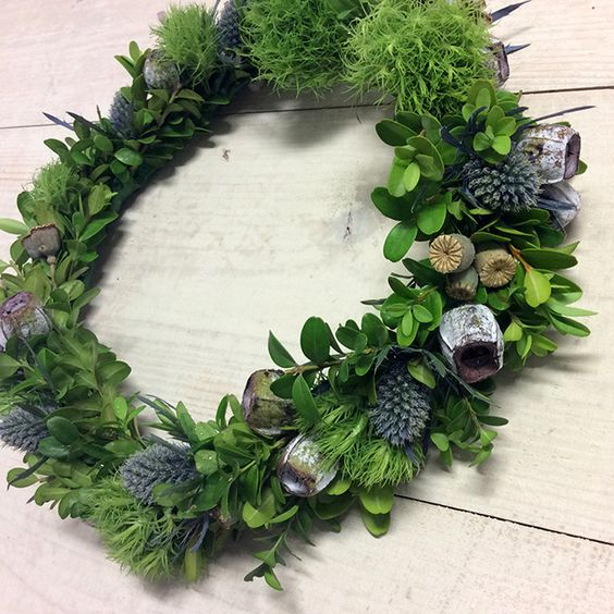 Fresh and Textural Green Flower Crown - Spring Racing Fashion, green trick, sea holly, tetragonal nuts, box hedge,