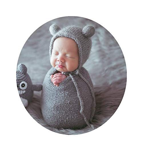 Newborn Photography Props Outfits Baby Boys Girls Photo Props Knit Hat with Wrap Blanket Set