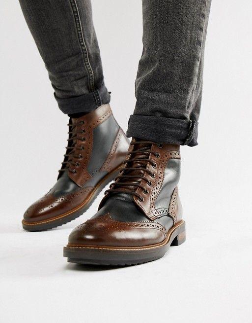 SALE Base London /'Walnut/' Gents Black Leather Full Brogue Wingtip Oxford Shoes