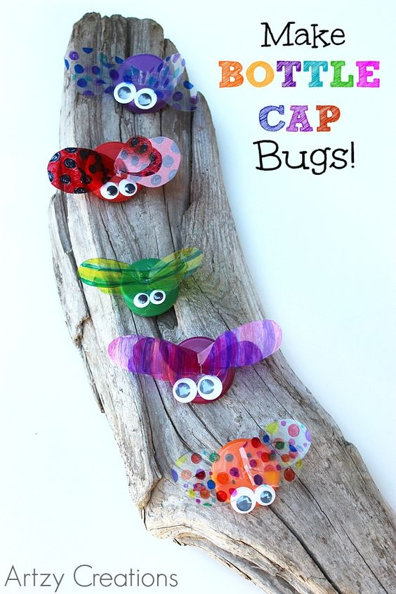 Make bottle cap bugs summer for kids and kids crafts for Crafts to do with bottle caps