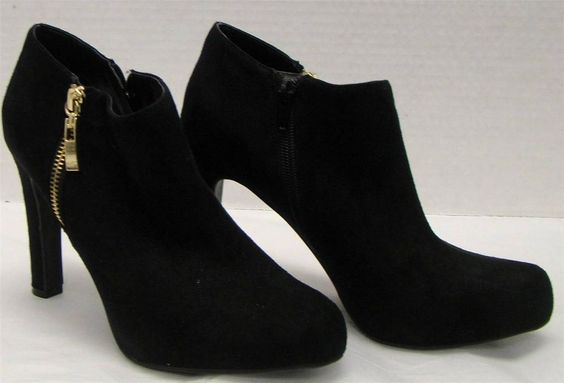 MARC FISHER SUEDE BLACK ANKLE BOOTIE GOLD ZIPPER SIZE 7 1/2 M HEELS SHOES #MarcFisher #FashionAnkle