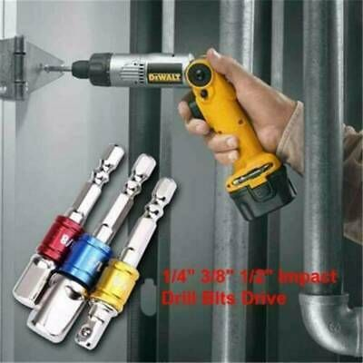"3x Drill Socket Adaptor Hex Drive To 1//4/"" 3//8/"" 1//2/"" Impact Drill BIts Driver Kit"