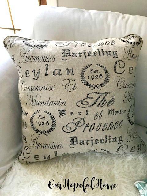 French Tea Script Accent Pillow Farmhouse Style Pillows