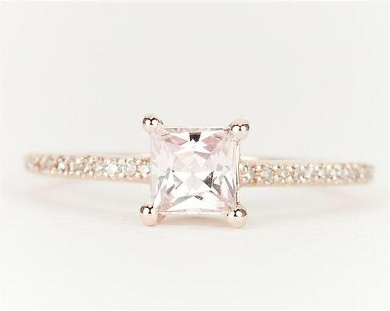 Sapphire Diamond 14k Rose Gold Princess Cut Engagement Ring