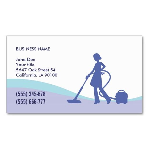 Housekeeping maid business card template carpet for Cleaning business cards templates free