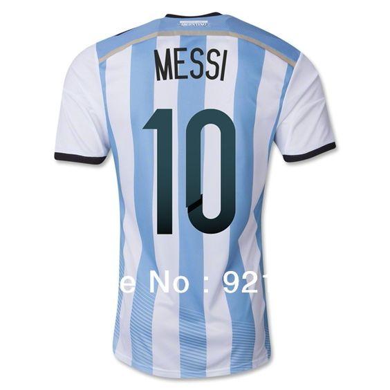 Hot Sale 2014 Brazil World Cup Argentina Home Men Soccer