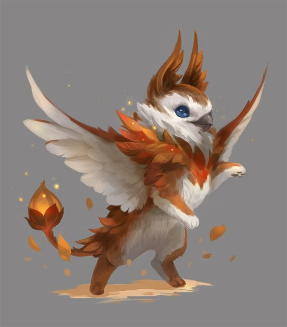 Fire Elemental Half Fox Half Bird Half Phoenix Mythical Creatures Art Mythical Creatures Cute Fantasy Creatures