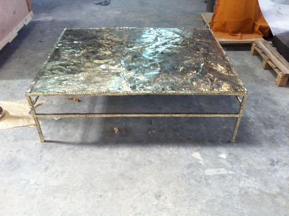 "HUGE 8' X 8"" Forged Bronze Table.  You like? Please SHARE...."