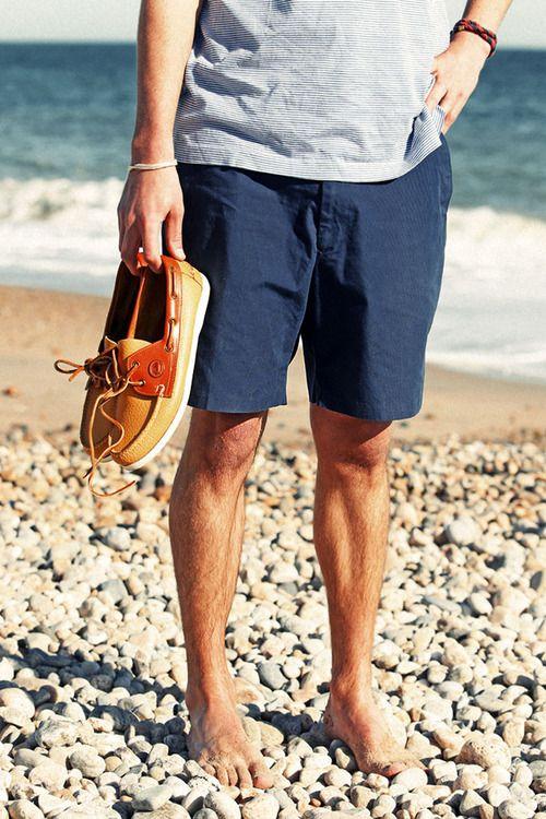 Men's Light Blue Horizontal Striped V-neck T-shirt, Navy Shorts ...