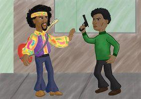 experimento em ilustração digital, baseado na música Hey Joe, de Jimmy Hendrix
