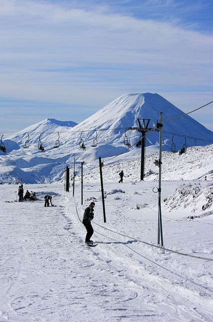 Mount Ngaruhoe, from Whakapapa Ski area on the Hut Flat Rope Tow, New Zealand