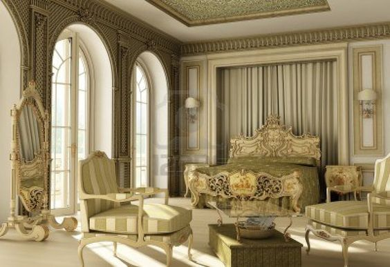 Baroque style double window balcony master bedchamber for Luxury balcony design