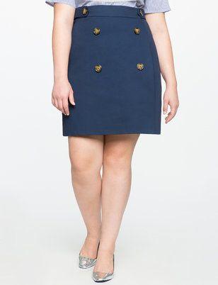 Button Detail A-line Skirt from ELOQUII