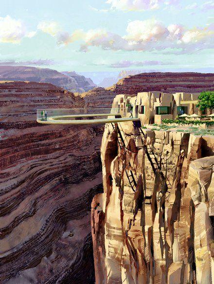 Grand Canyon Glass Bottom Skywalk in Arizona, USA.......ah....no.