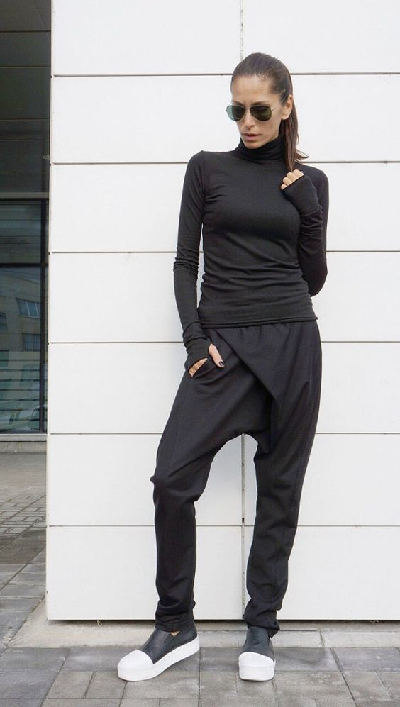 This gorgeous comfortable black drop crotch pants will be your Must have  garment for the new season... Asymmetrical Front long zipper ,side pockets , adjustable waistline ,both high and low wasted ... So comfy and easy to wear at the same time a touch of elegance and style... Wear it with extravagant tunic,sneakers, favorite tee or top,or hoodie or sweater....or what else do you have in mind will be always just PERFECT....  Size ( XS,S,M,L,XL,XXL,XXXL,4XL... ) Fabric cotton and lycra   Size ...