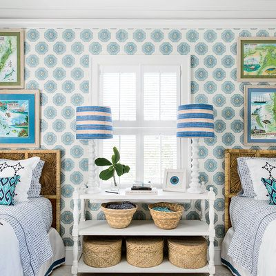"Blue Bahamas Guest Bedroom |  ""Charming wallpaper gives a room a special, tucked-away feel,"" says designer Amanda Lindroff, who applied a blue medallion print to the walls of this Harbour Island guest bedroom.:"