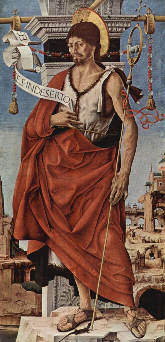 Francesco del Cossa: Maître Autel de Griffon, volet droit: Saint Jean Baptiste, San Petronio, Bologne, Pinacoteca di Brera, 1473