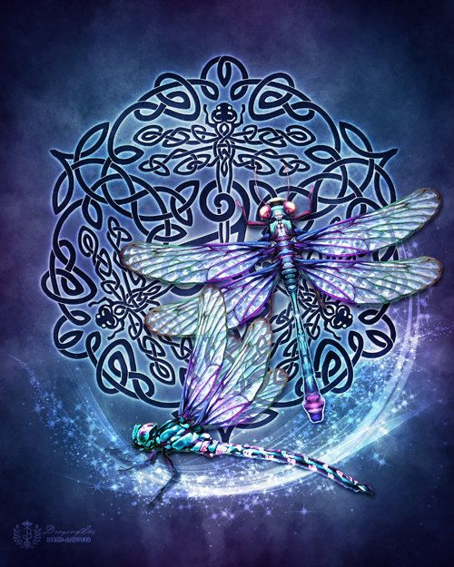 Celtic Dragonflies Triskele   Pagan Wiccan Print  by BrightArrow, $15.00
